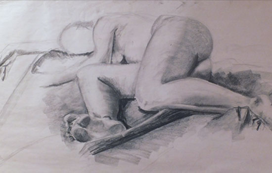 Study in Foreshortening. Charcoal.